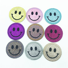 цена на 100pcs Smile Face 6.4*6.4cm DIY Embroidered Emoji Glitter Patches Iron On Applique Badge Sticker For Clothes Sewing Patch