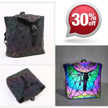 2018 New Women Laser Backpack Mini Geometric Shoulder Bag Folding Hologram Bao Backpacks Student School Bags For Teenage Girl joyir genuine leather women backpack vintage brown school girl shoulder bag backpacks bao bao fashion ladies shopping travel bag