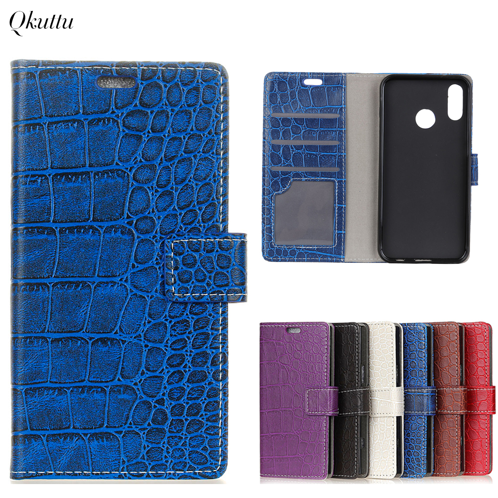 Qkuttu Phone Case for Huawei P20 Lite Leather flip case wallet silicon cover for P20 Lite cover silicone TPU Vintage Crocodile
