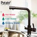 Картофель новый кухонный смеситель для раковины семь букв Дизайн 360 градусов вращение Водоочистка кран двойная ручка P4098-6