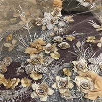 Latest Gold Lace Beaded/Stones/Sequins Design Luxury African Lace Fabrics 3d Flower Embroidery French Tulle Lace Fabric X825 2