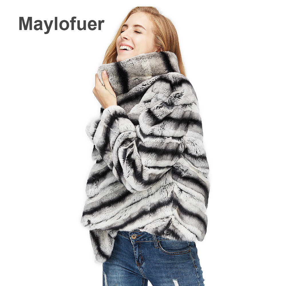 2018 vente chaude femmes réel naturel rex lapin manteau de fourrure de haute qualité 100% véritable rex de fourrure de lapin chinchilla couleur d'hiver veste