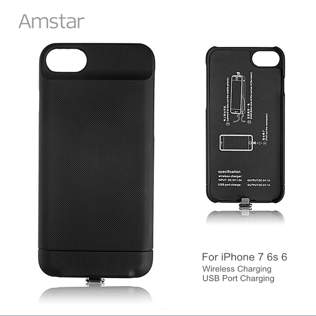 new concept 4cf9a 4d1e0 US $19.99 |Amstar 3in1 Qi Wireless Charging Receiver Case Black Cover for  iPhone 7 6S 6 Wireless Charger Receiver Case Qi Receiver Cover-in Wireless  ...