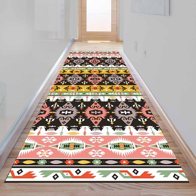 Else Aztec Pink Yellow Ethnic Geometric 3d Print Non Slip Microfiber Washable Long Runner Mat Floor Mat Rugs Hallway Carpets