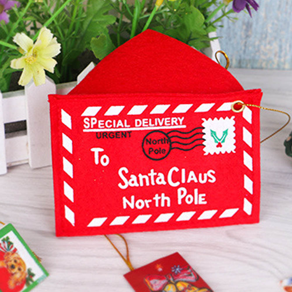 1PC Non-woven Fabric Christmas Santa Claus Envelope Small Red Print Bag Home Desk Decoration Supplies Creative New Year Gift