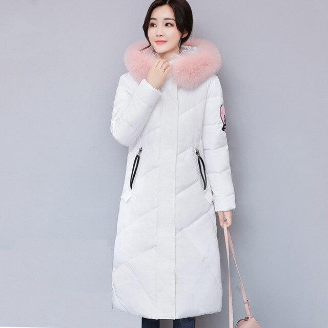 Fur Collar Hooded Long Women Winter Jacket Solid Cotton Padded Warm Casaco Feminina Inverno Cartoon Print