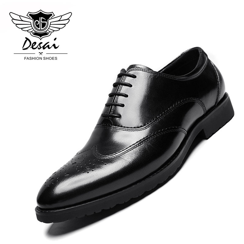 DESAI Men's Carved Genuine Leather Shoes Business Dress Cow Leather Shoes Brogue Formal Causal Shoes Red Black Size 37-44 new kids genuine leather shoes 2018 children dress shoes boy formal shoes flat classic sneakers size 26 37 red yellow blue black