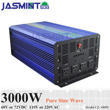 3000W 60V/72V DC to AC 110V/220V Off Grid Pure Sine Wave Solar Inverter or Wind Inverter, Single Phase PV Inverter 800w grid tie micro inverter for 18v solar panel or 24v battery 10 5 28v dc to ac 110v 220v pure sine wave solar inverter