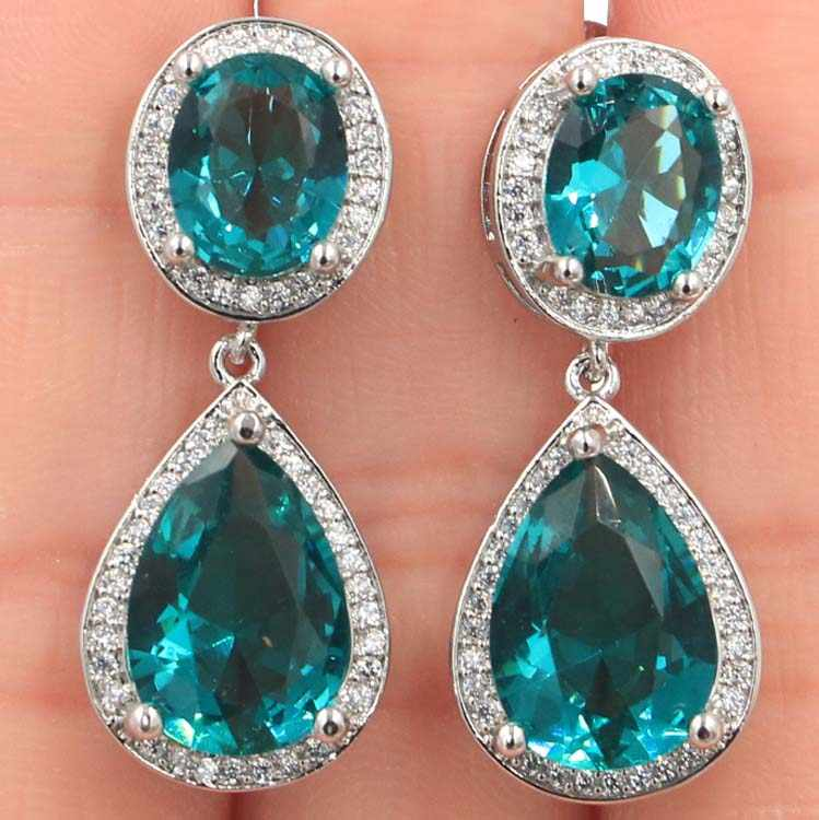 Shecrown Top AAA Kaya Blue Aquamarine Alami CZ Wanita Hadiah Perak Anting-Anting 34X14 Mm