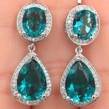 SheCrown Top AAA Rich Blue Aquamarine Natural CZ Woman's Gift Silver Earrings 34x14mm