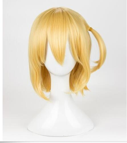 Haikyuu!! Hitoka Yachi Wig Yachi Hitoka Cosplay Wig Short Gold Hair Wig + Cap >>>girls Cosplay wig Free shipping free shipping anime hitman reborn irie shouichi short orange brown full lace cosplay wig costume heat resistant cap