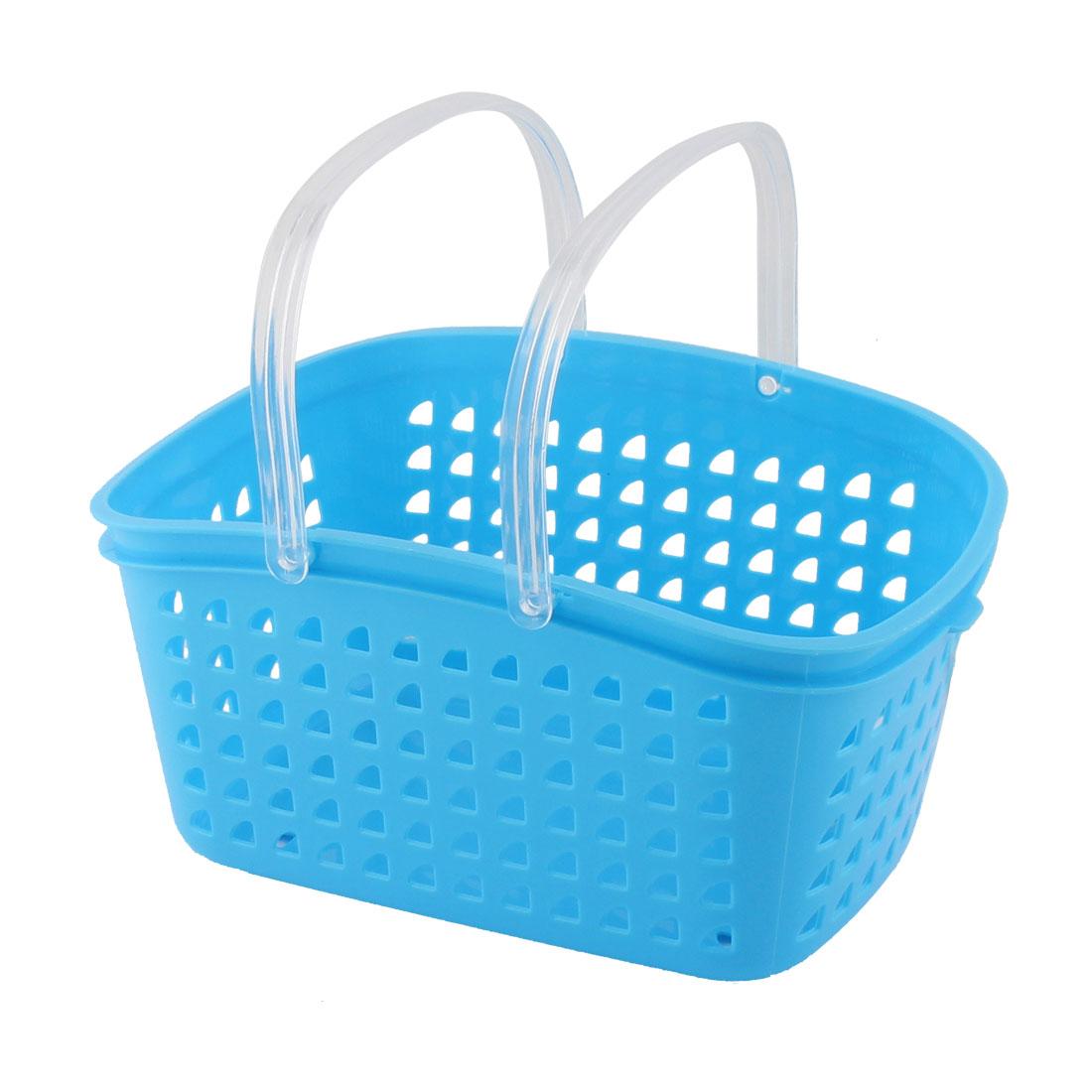 uxcell household bathroom plastic portable shower gel soap storage organizer basket box blue