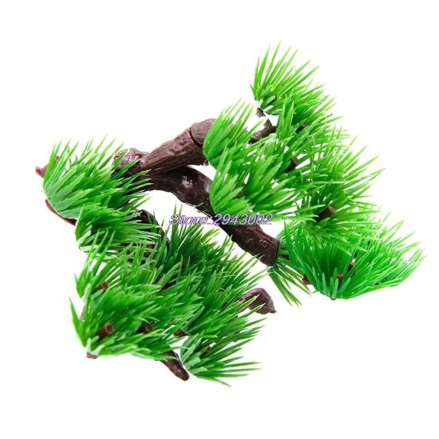 Artificial Plants Aquarium Fish Tank Accessories Plastic Pine Bonsai Decor
