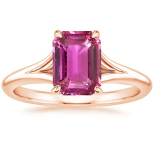ANI 18K Rose Gold (AU750) Women Wedding Ring Certified Solitaire Natural Pink Sapphire Oval/Rectangle Shape Engagement Gem