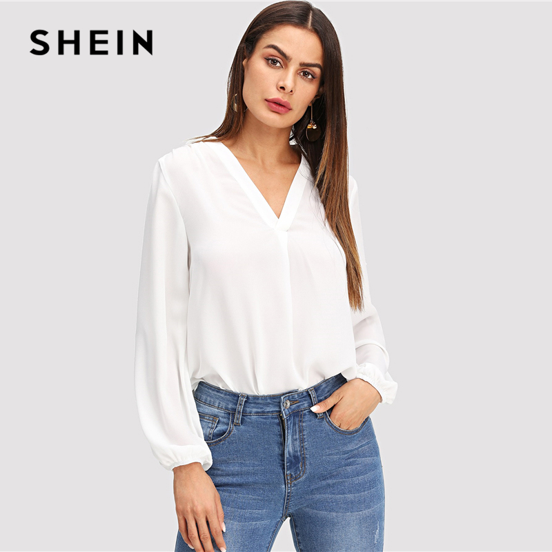 SHEIN White V Neck Plain Top Workwear Modern Lady Pullovers Long Sleeve Blouse 2018 Fall Bohemian OL Work Elegant Blouses