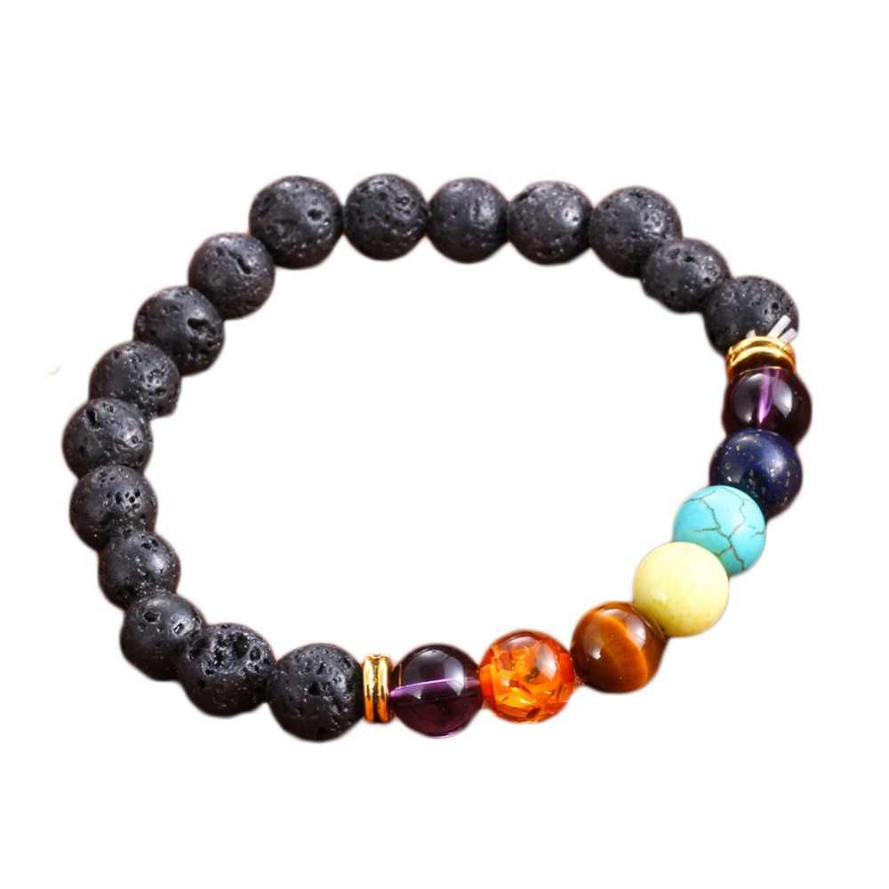 Новый натуральный камень лавы Strand браслет Красочные Бусины Энергии вулканический Рок Браслеты для йоги для мужчин женщин ювелирные изделия подарок