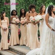 87e6bdab2485 Elegant Champagne Bridesmaid Dress Sweetheart Floor Length Mermaid Bridesmaid  Dresses Long Vestito Damigella Donna(China