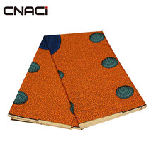 hot deal buy cnaci polyester ankara fabric african real wax print 6 yards on sale promotion cheaper orange african wax print fabric for dress