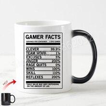 Sıcak Gamer Gerçekler Sihirli Kupa Çay Kupası Komik Gamer Beslenme Gerçekler Hediyeler için Oyun Geek Video Oyunları Oyun Addict...