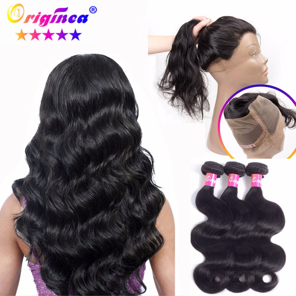 Salon Hair Supply Chain Qualified Originea 360 Lace Frontal Closure With 3 Bundles Brazilian Body Wave Salon Bundles Remy Human Hair With 360 Lace Front Closure Curing Cough And Facilitating Expectoration And Relieving Hoarseness