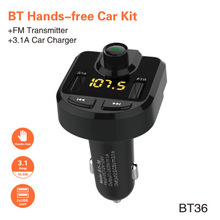 Bluetooth Hands-free Car Kit FM Radio Transmitter Modulator Music Player 3.1A Fast Intelligent Charger Dual USB LED Display
