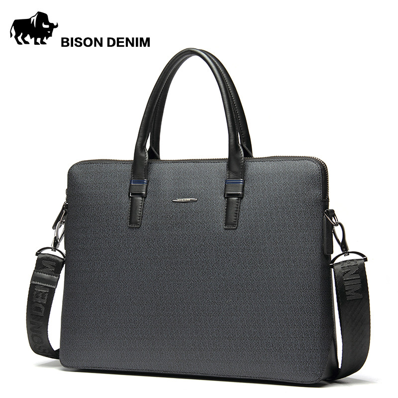 BISON DENIM fashion luxury men bag split leather business men briefcase laptop bag brand male handbag shoulder bags padieoe luxury men bag split leather classic business men briefcase laptop bags brand handbag