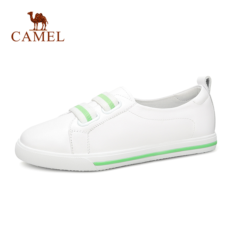 CAMEL New Fashion Simple Student White Shoes Women Soft Leather Young Trend Casual Shoes Ladies Shallow