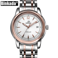 Simple Watch Men BINKADA Mechanical Automatic Wristwatch Mens Unique Waterproof Casual Classic Watch reloj
