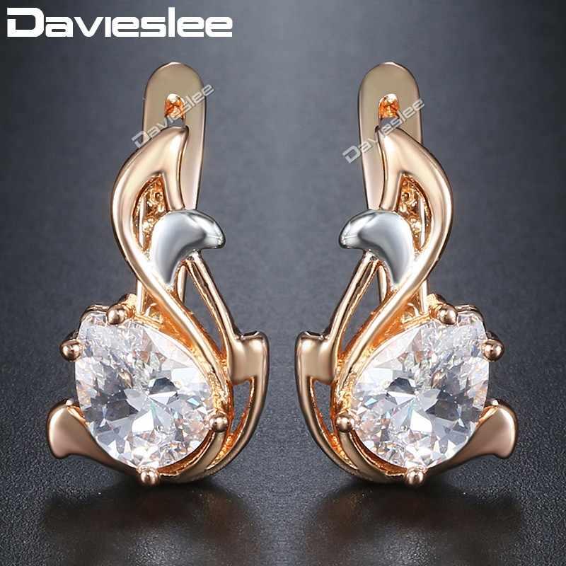 ac565fdff Davieslee Teardrop Black CZ Leaf Dangle Earrings for Women Cubic Zirconia  585 White Rose Gold Filled
