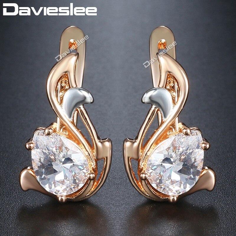Davieslee Teardrop Black CZ Leaf Dangle Earrings for Women Cubic Zirconia 585 White Rose Gold Filled Womens Earring DGEM12