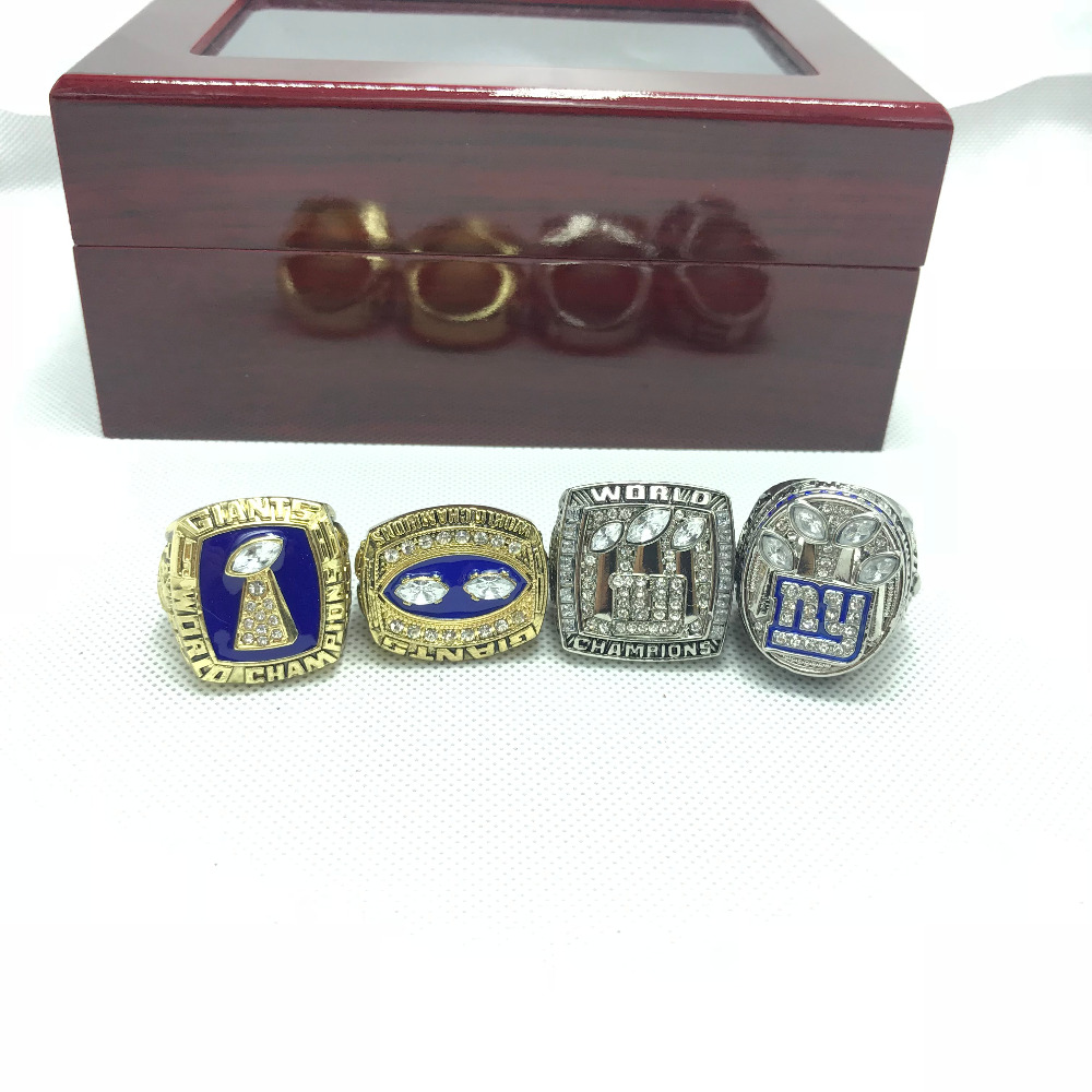 New York The Giants championship ring set with box replica 1986 1990 2007 2011 football championship rings sleeping giants