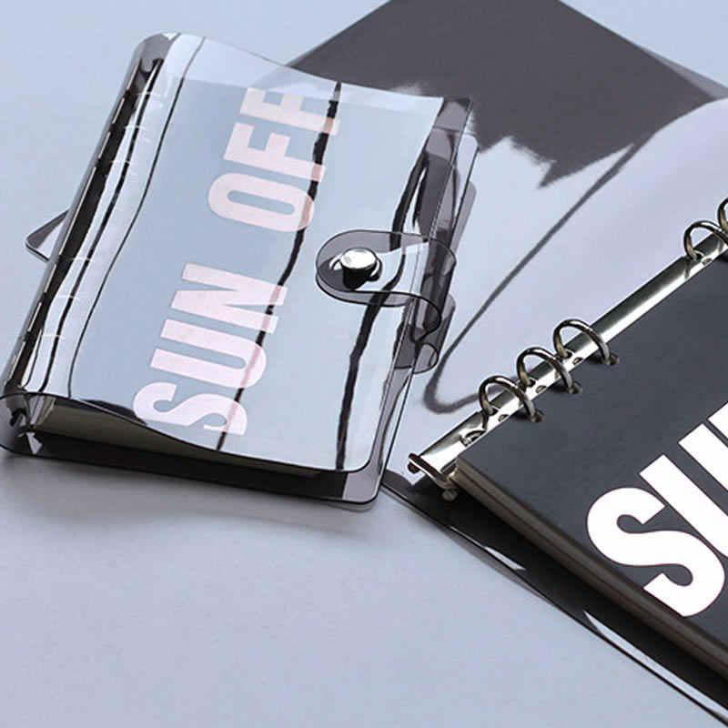 Yiwi A5A6 Zwart PVC Notebook Accessoire Vel Shell Kantoor School Transparante Beknopte 6 Gaten Bindmiddel Planner Cover Bullet Journal
