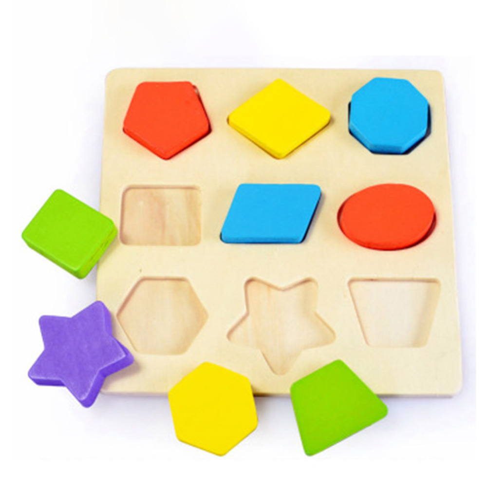 Baby Kids Wooden Learning Geometry Educational Toys Puzzle ...
