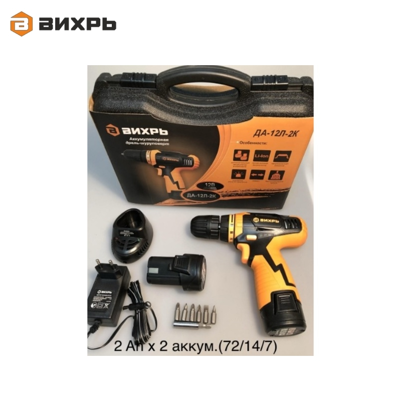 Cordless drill driver VIHR DA-12L-2K Accumulator screwdriver Screw driver Battery-powered drill Hand drill cordless drill with battery kalibr da 514 2 screw driver power tools mini drill