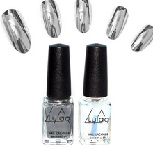 LULAA 2Pcs/Set 6ml Behind Silver Mirror Effect Metal Nail Polish Varnish Base Coat Metallic Nails Art Tips DIY Manicure Design