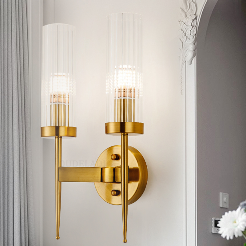 Modern copper glass Wall Lamps retro gold bedroom bedside lamp corridor living room dining hall aisle E14 LED lamps