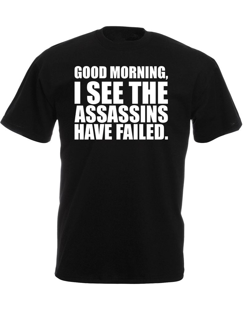Military T Shirts Crew Neck Men Short Graphic Good Morning I See The Assassins Tees