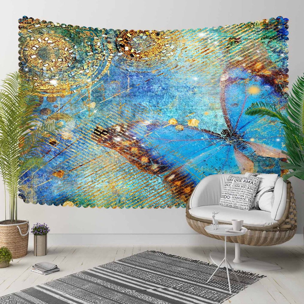 Else Vintage Retro Yellow Blue Big Butterfly 3D Print Decorative Hippi Bohemian Wall Hanging Landscape Tapestry Wall Art