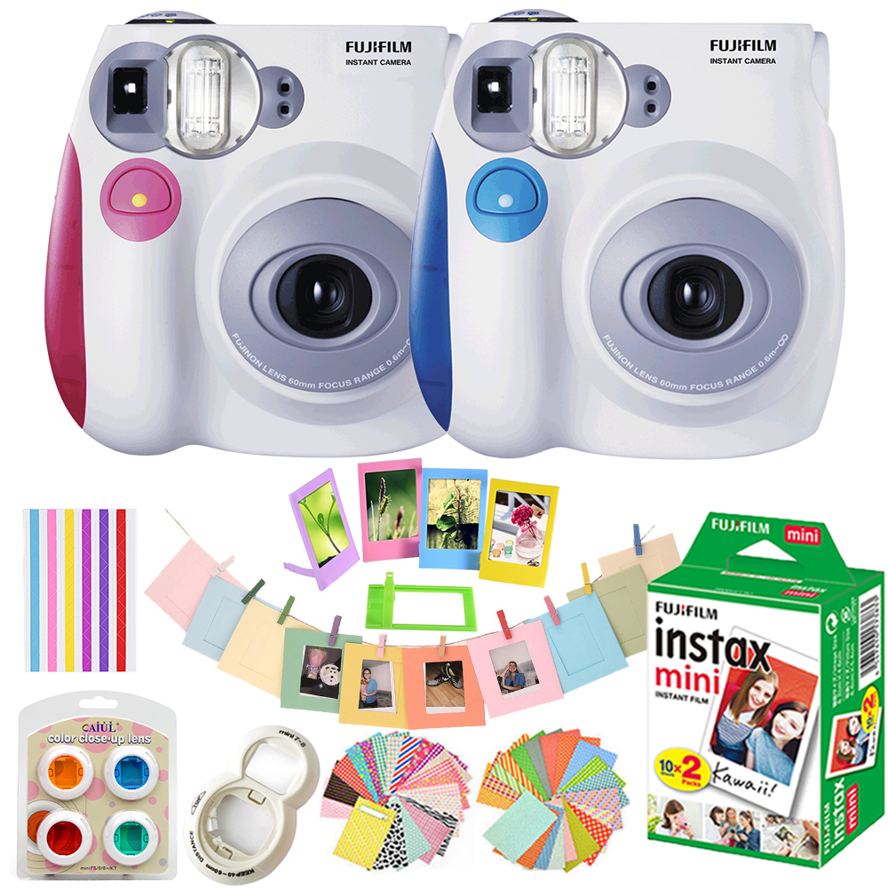 Fujifilm Instax Mini 7s Camera Set 10 In 1 Kit Close up Lens Stickers Other Accessories