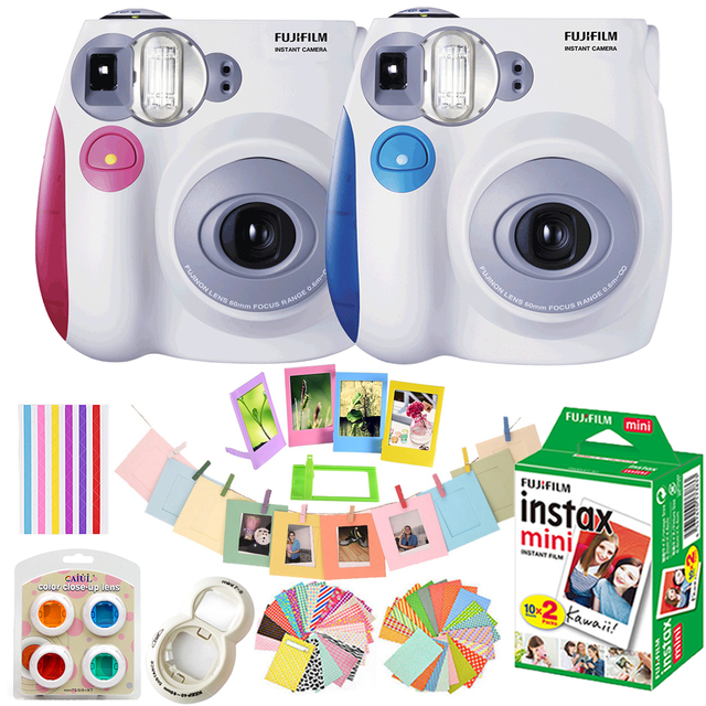 155c609df950 Fujifilm Instax Mini 7s Camera Set   10 In 1 Kit Close up  Lens+Stickers+Other Accessories   With 20 Sheets White Mini Film Photo