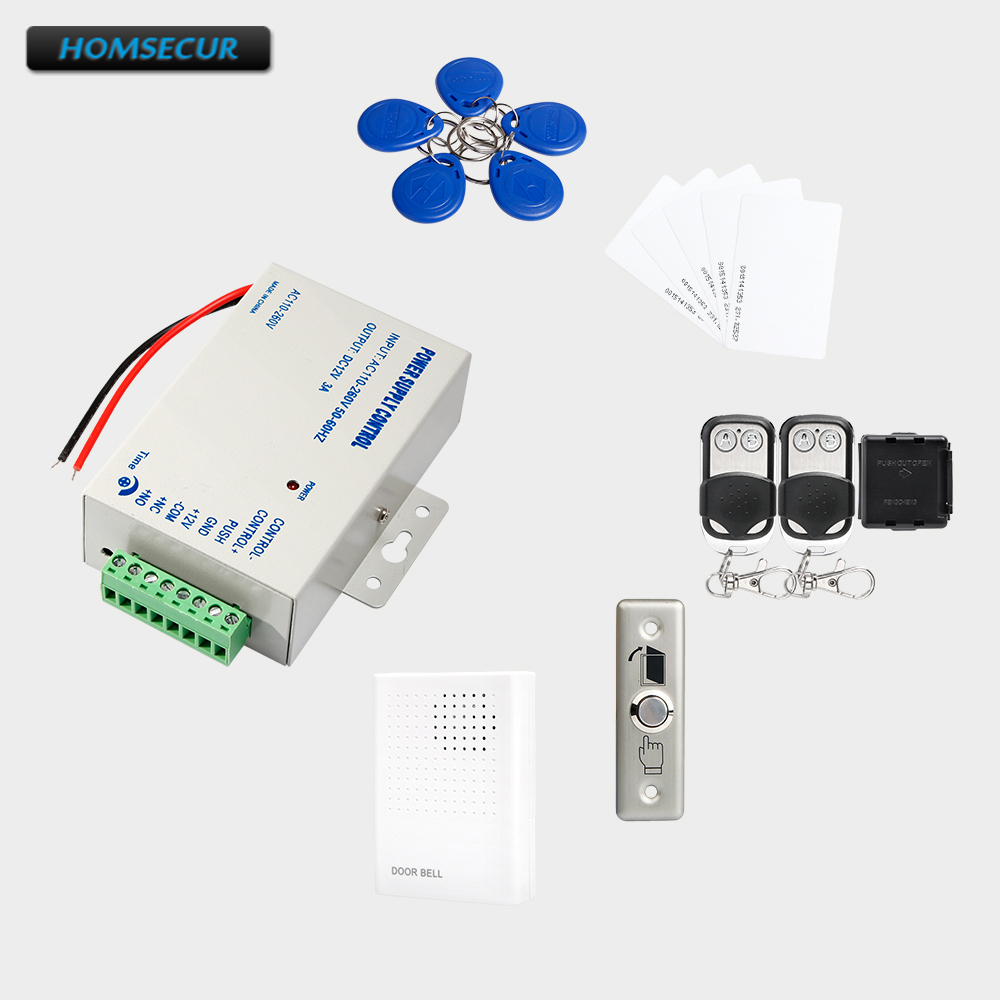 HOMSECUR 5Pcs RFID Card +5Pcs RFID Keyfob +Power Supply+ Remote Controller+Wired Doorbell+Metal Exit button 5pcs ht16k33 sop28