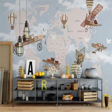 Hand-painted spaceship sky retro Nordic children custom large indoor wallpaper mural 3D photo wall