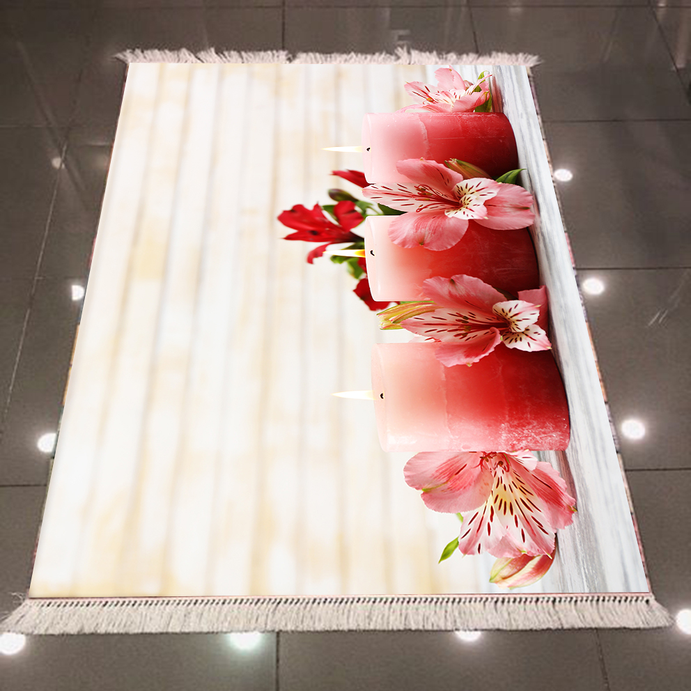 Else Brown Pink Candles Red Pink Flowers 3d Pattern Print Microfiber Anti Slip Back Washable Decorative Kilim Area Rug Carpet