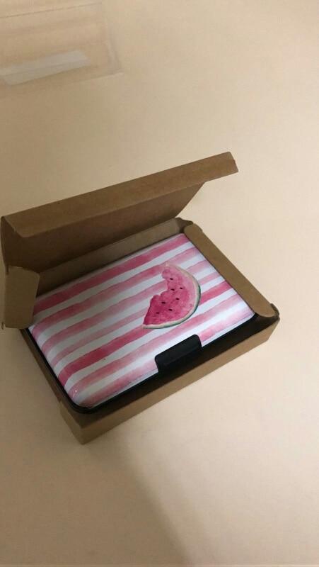 BONAMIE New Watermelon Aluminum Business ID Credit Card Case Holder Brand Metal Wallet Anti RFID Card Box For Men Women Flamingo photo review