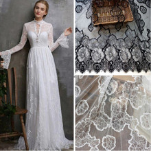 цена на High end Off white/Black color in stock wedding lace fabrics eyelash lace tissue 2019 NEW and nice pattern women dresses lace