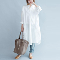 2018 Fashion Women Stand Collar Long Sleeve Baggy Boyfriend Style Blouse Casual Solid Split Long Tops
