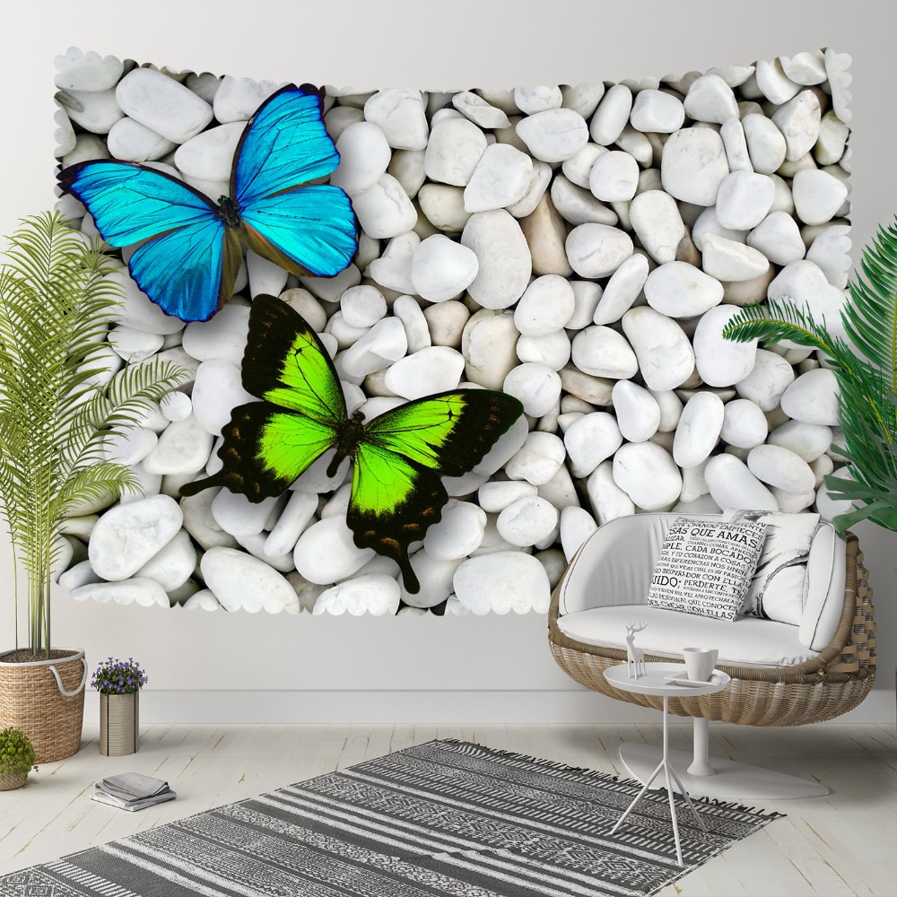 Else White Gray Pebble Stones Green Blue Butterfly 3D Print Decorative Hippi Bohemian Wall Hanging Landscape Tapestry Wall Art
