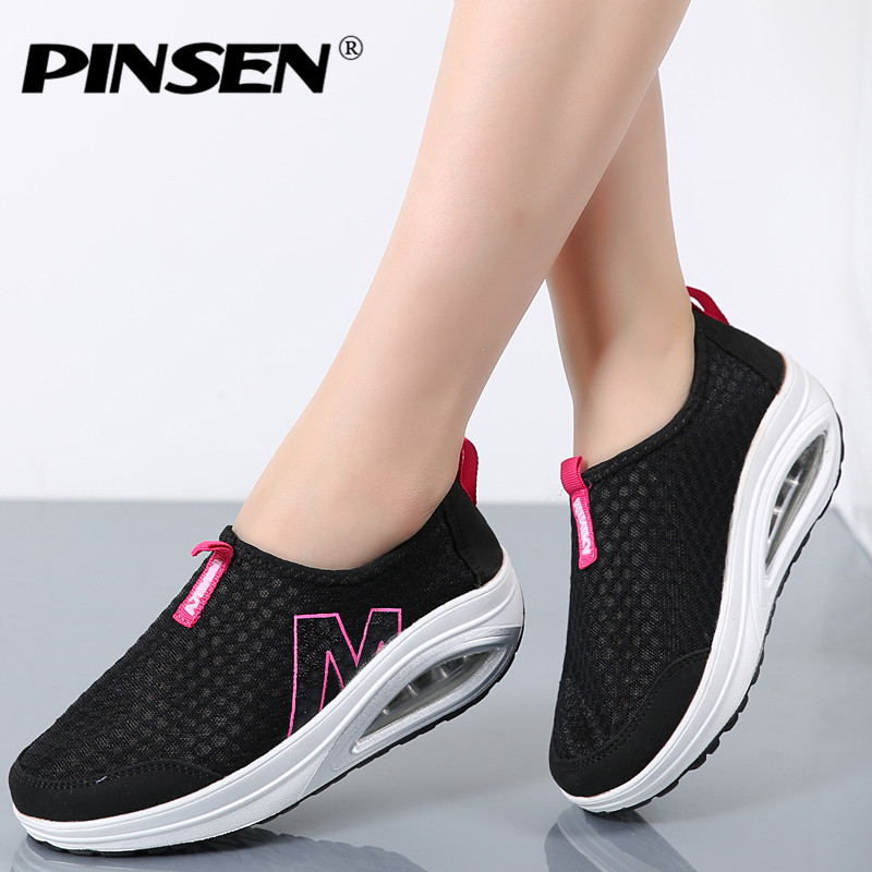 PINSEN New Women Flats Shoes Fashion Casual Summer Shoes Female Zapato Casual Breathable Mesh Footwear For Women creepers Shoes tesilixiezi new spring summer fashion candy color bling flats platform shoes wegde breathable women casual shoes footwear