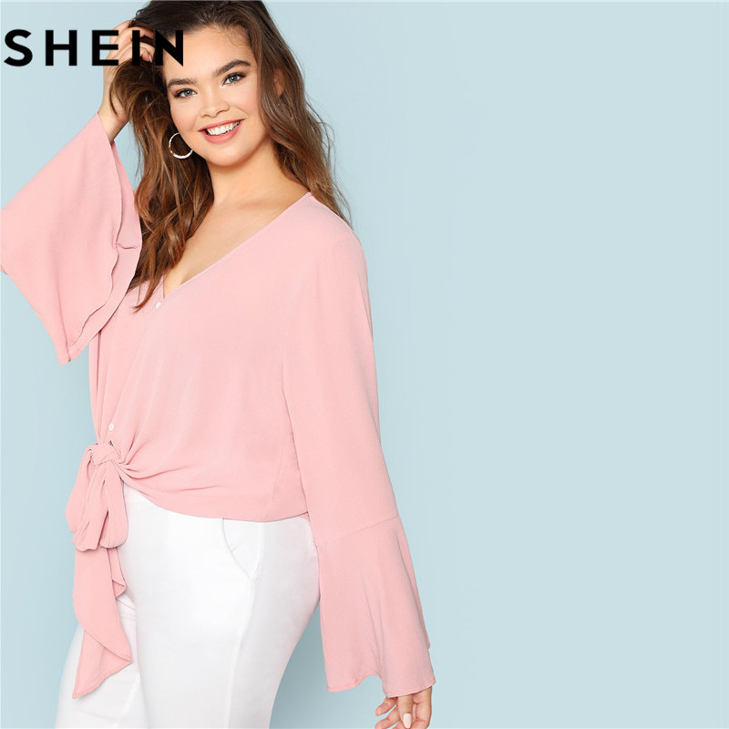 683e049fea3 SHEIN Elegant Pink V Neck Ruffle Sleeve Knot Hem Women Plus Size Blouses  2018 Autumn Fashion Solid Workwear Office Lady Shirts-in Blouses   Shirts  from ...