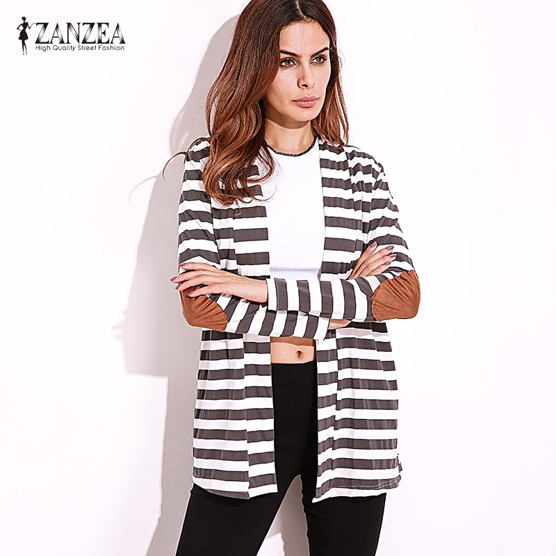 Autumn 2018 ZANZEA Women Thin Coat Outerwear Long Sleeve Striped Printed Cardigan Casual Elbow Jacket Plus Size Knitted Sweater